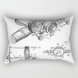 Fishing Reel Patent - Fishing Rod Art - Black And White Rectangular Pillow