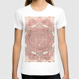 Rose gold cyan mandala T-shirt