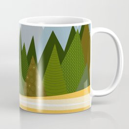 Woodland snowy mountain tops trees and mother moose and baby Coffee Mug
