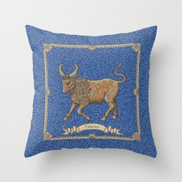 Vintage Astrology - Taurus Throw Pillow