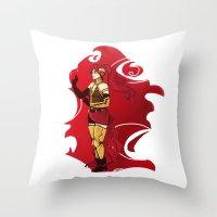 rwby Throw Pillows featuring RWBY Pyrrha by IslandMyths
