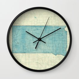 South Dakota State Map Blue Vintage Wall Clock