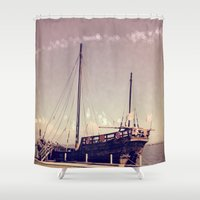 pirate ship Shower Curtains featuring Pirate Ship by Apples and Spindles