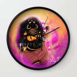 Black Female Warrior Empress Cloaked with Black and Gold Armor Wall Clock