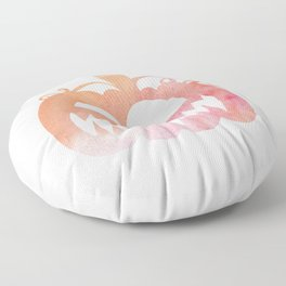 Halloween Watercolor Pumpkin Face Orange & Pink 5 Floor Pillow