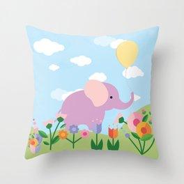 Purple Elephant and Balloons, nursery decor , Throw Pillow