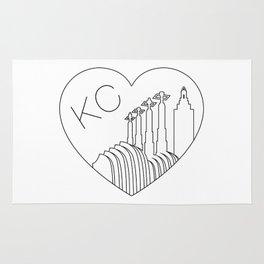 Kansas City - Minimalist Skyline Heart Rug