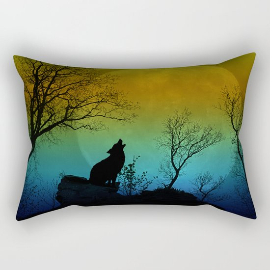 Howling wolf II Rectangular Pillow