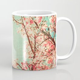 Pink Autumn Leafs on Blue Textured Sky (Vintage Nature Photography) Coffee Mug