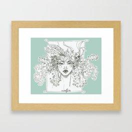 Floral Maiden - Mint Framed Art Print