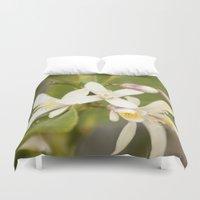 jasmine Duvet Covers featuring Jasmine Flower by NL Designs