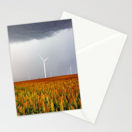 Maizy Day - Colorful Maize and Wind Turbines on Stormy Day in Kansas Stationery Cards