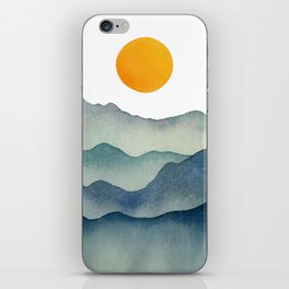 Mountain Range Silhouette – Blue & Yellow iPhone Skin