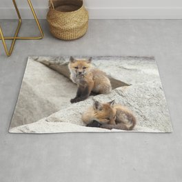 Watercolor Fox, Red Fox 39, Union Reservoir, Boulder County Rug