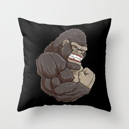 Gorilla At The Gym | Fitness Training Muscles Throw Pillow