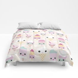 Cute kawaii summer Japanese ice cream cones and popsicle p Comforters