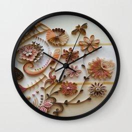 Golden Sugar Skull Wall Clock