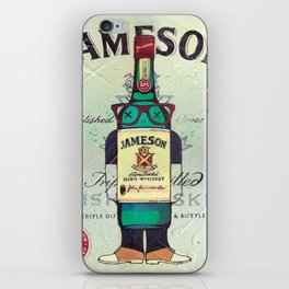 Irish Whiskey cartoon illustration original painting print iPhone Skin