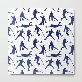 Blue Baseball Players Metal Print