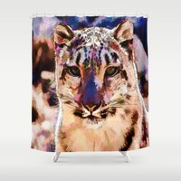 snow leopard Shower Curtains featuring Snow Leopard  by Cathy Donohoue