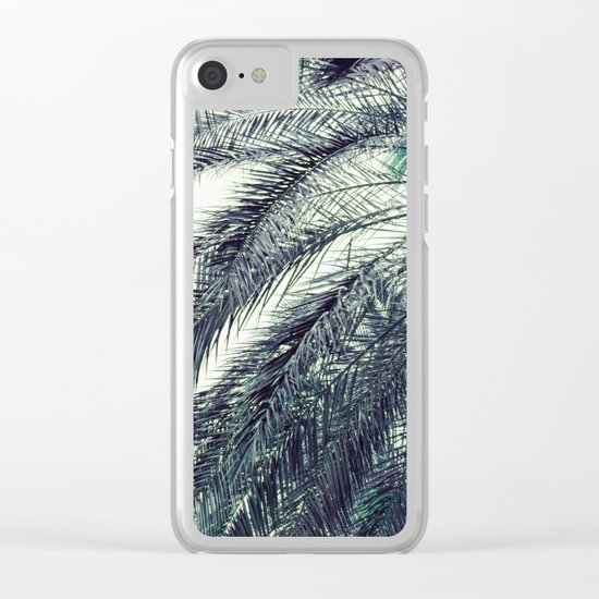 Teal Palm Tree Clear iPhone Case