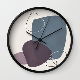 Abstract Glimpses in Peninsula Blue and Aubergine Wall Clock
