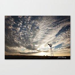 Sandhills Windmill @ Sunset Horizontal Canvas Print