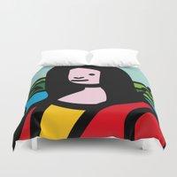 mona lisa Duvet Covers featuring Mona Lisa by Hello Animal