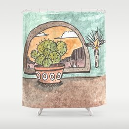 New Mexico Sunset With Cactus & Cross Shower Curtain