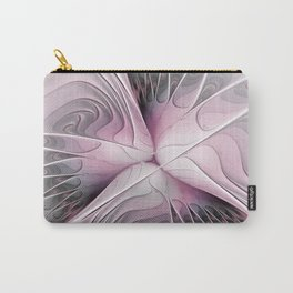 Fantasy Flower, Pink And Gray Fractal Art Carry-All Pouch