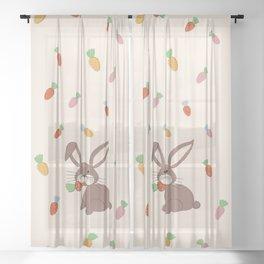 Cute Bunny and Carrots Sheer Curtain