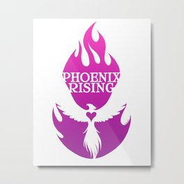 PHOENIX RISING purple with flames and heart center Metal Print