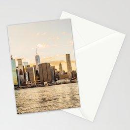 New York skyline at sunset Stationery Cards
