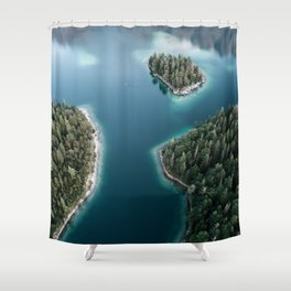 Lakeside Views at Sunset - Landscape Photography Shower Curtain