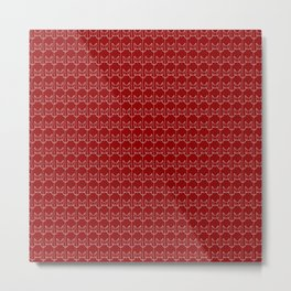 kitty pattern print in red Metal Print
