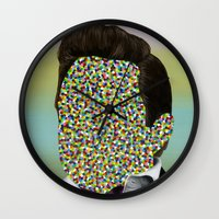 johnny cash Wall Clocks featuring CASH by FAMOUS WHEN DEAD