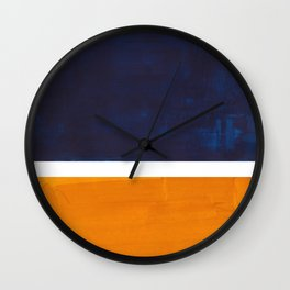 Navy Blue Yellow Ochre Abstract Minimalist Rothko Colorful Mid Century Color Block Pattern Wall Clock