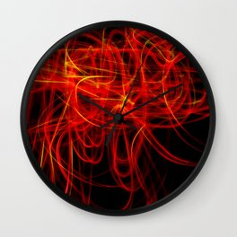 Abstract Red and Yellow Light Effect Wall Clock