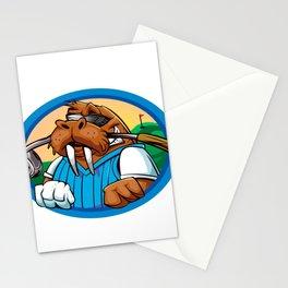Cartoon walrus golf club Stationery Cards