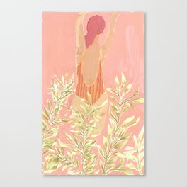 Girl and the leafs Canvas Print