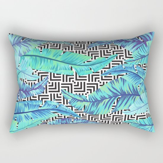 turquoise tropical leaves Rectangular Pillow