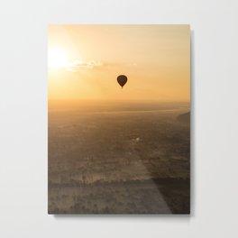 Hot air balloon over Bagan, Myanmar   Travel photography Asia Metal Print