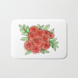 Watercolor Orange Rose Bouquet Bath Mat