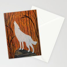 white wolf in the sunset Stationery Cards