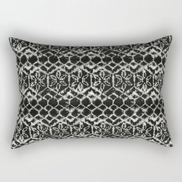tie dye geometric line in black and white Rectangular Pillow