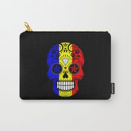 Sugar Skull with Roses and Flag of Romania Carry-All Pouch
