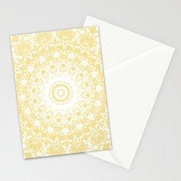 White Lace Mandala on Sunshine Yellow Background Stationery Cards