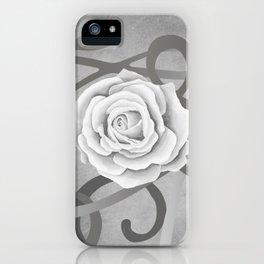 GREY MATTER / WHITE ROSE iPhone Case