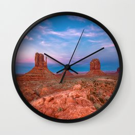 Westward Dreams - Sunset in Monument Valley Wall Clock