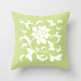Oriental Flower - Daiquiri Green Throw Pillow